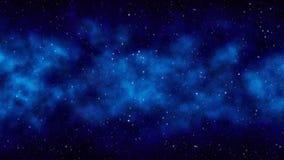 De blauwe ruimteachtergrond van de nacht sterrige hemel met heldere sterren, nevel stock afbeelding