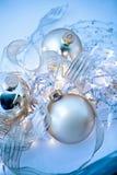 De blauwe Samenvatting van de Ornamenten van Kerstmis Royalty-vrije Stock Afbeelding
