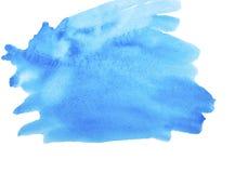 De blauwe slag van de waterverf abstracte verf op witte achtergrond royalty-vrije stock afbeeldingen