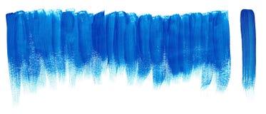 De blauwe slagen van de borstelverf stock illustratie