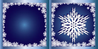 De blauwe Sneeuwvlok van de kaart van Groeten   Stock Afbeeldingen
