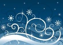 De blauwe Sneeuwvlokken van het Sprookjesland van de Winter Stock Afbeelding