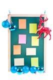 De blauwe snuisterijen van Kerstmis, ornament en kleverige nota's Royalty-vrije Stock Foto