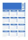 De blauwe Spaanse kalender van 2019 Voor het drukken geschikte portretversie vector illustratie