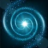 De blauwe spiraalvormige achtergrond van de deeltjessleep Royalty-vrije Stock Fotografie