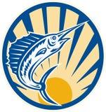 De blauwe Springende Retro Cirkel van de Marlijn Royalty-vrije Stock Fotografie