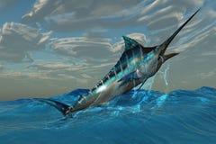 De blauwe Sprong van de Marlijn Royalty-vrije Stock Foto's