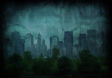 De Blauwe Stad van Grunge Stock Afbeeldingen