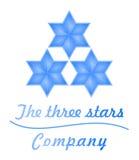 De blauwe Sterren van het bedrijfsglas 3D embleem Stock Fotografie