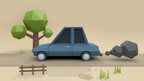 De blauwe stijl van het auto lage polybeeldverhaal bij de landweg met rook het zachte bruine 3d teruggeven als achtergrond, snel  royalty-vrije illustratie