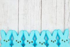 De blauwe suikergoedkonijntjes op doorstaan vergoelijken geweven houten achtergrond stock foto