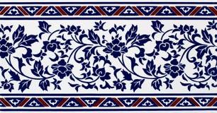 De blauwe Tegel van Patroonbloemen Stock Fotografie