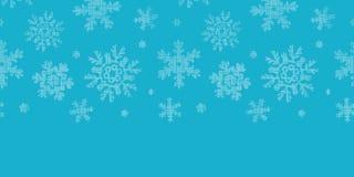 De blauwe textiel horizontale grens van kantsneeuwvlokken Stock Afbeelding