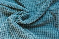 De blauwe textiel, sluit omhoog Hoogste mening Abstract geruit patroon Stock Fotografie