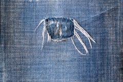 De blauwe textiel van denimjeans met verontrust textuurpatroon, een wo Stock Fotografie