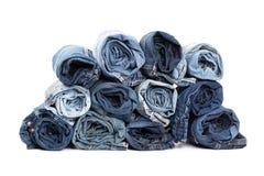 De blauwe textuur van denimjeans royalty-vrije stock afbeeldingen