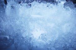 De blauwe textuur van het ijs Stock Foto