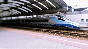 de blauwe trein van de treinhoge snelheid bij de post royalty-vrije stock fotografie