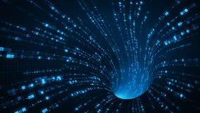 De blauwe tunnel sc.i-FI met digitale symbolen vat 3D samen teruggeeft Stock Afbeeldingen