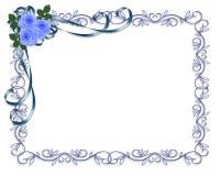 De blauwe uitnodiging of de Valentijnskaart van het Huwelijk van Rozen Stock Foto's