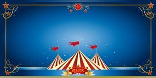 De blauwe uitnodiging van het circus Stock Foto's