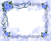 De blauwe uitnodiging van het Huwelijk van Rozen Stock Fotografie