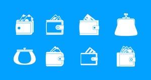 De blauwe vastgestelde vector van het portefeuillepictogram stock illustratie