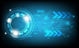 De blauwe vector abstracte achtergrond toont de innovatie van technologie en technologische concepten Stock Afbeelding