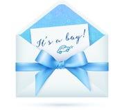 De blauwe vector van de babydouche wikkelt met boog Royalty-vrije Stock Foto