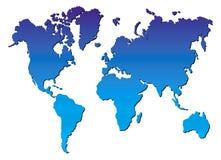 De blauwe vector van de wereldkaart stock illustratie