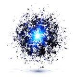 De blauwe vectorexplosie van de technostijl Stock Afbeeldingen