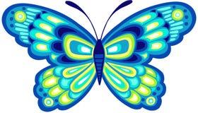 De blauwe VectorIllustratie van de Vlinder Stock Afbeeldingen