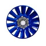De blauwe ventilator van de luchtturbine voor ventilatie en airconditioning die op witte achtergrond wordt geïsoleerd Stock Afbeeldingen