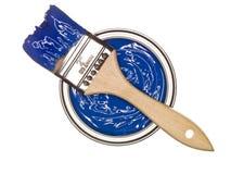 De blauwe Verf kan met borstel stock fotografie