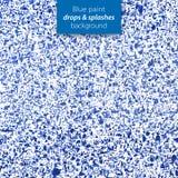 De blauwe verf laat vallen en bespat achtergrond Royalty-vrije Stock Afbeelding