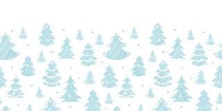 De blauwe verfraaide textiel van Kerstbomensilhouetten Stock Foto
