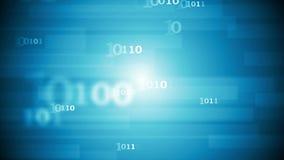 De blauwe videoanimatie van de technologie abstracte binaire code stock footage
