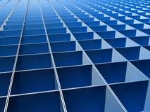 De blauwe vierkante achtergrond van het lijnpatroon Stock Afbeeldingen