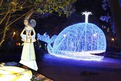 De blauwe vinvis bij verrukte tuin in Salerno Royalty-vrije Stock Foto's