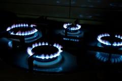 De blauwe Vlammen van het Gas Royalty-vrije Stock Fotografie