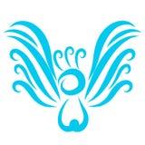 De blauwe vogel met een bosje, heft zijn vleugels op royalty-vrije illustratie