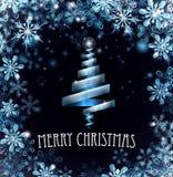 De blauwe Vrolijke Achtergrond van Kerstboomsneeuwvlokken Royalty-vrije Stock Fotografie
