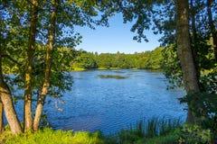 De blauwe waterspiegel van het meer met de schuur in het bos op een duidelijke dag stock fotografie