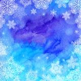 De blauwe waterverf geschilderde Kerstmiswinter Stock Afbeeldingen