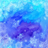 De blauwe waterverf geschilderde Kerstmiswinter Royalty-vrije Stock Foto's