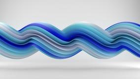 De blauwe witte verdraaide krommen vatten 3D samen teruggeven Stock Fotografie
