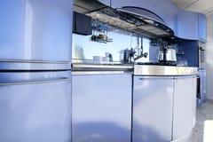 De blauwe zilveren decoratie van de keuken moderne architectuur Royalty-vrije Stock Afbeeldingen