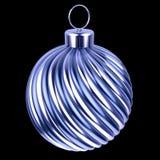 De blauwe zilveren snuisterij van de Kerstmisbal De vrolijke close-up van de Kerstmisdecoratie vector illustratie