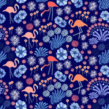 De blauwe Zomer Naadloos patroon Stock Fotografie