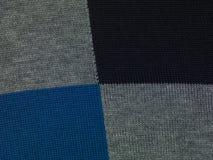 De blauwe, zwarte en grijze geruite achtergrond, sluit omhoog Royalty-vrije Stock Foto